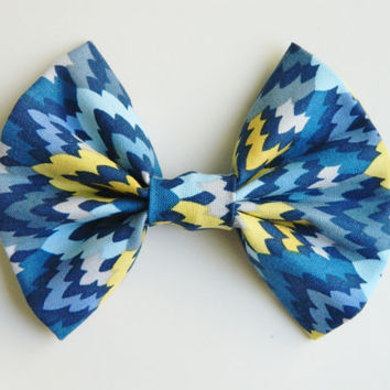 Yellow and Blue Hairbow, Large Hairbow, Chignon Hairbow, Hairbow great for a bun, Alligator clip or barrette