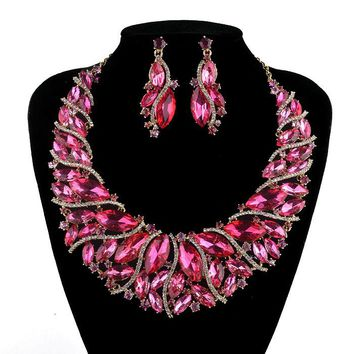 Crystal Statement Necklace earrings set  Pink Color Bridal Wedding Jewelry Sets Rhinestone Trendy Necklace