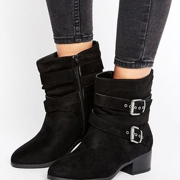 New Look Wide Fit Multi Strap Buckle Suedette Heeled Boots at asos.com