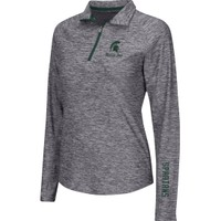 Colosseum Athletics Women's Michigan State Spartans Heathered Grey Studio III Quarter-Zip Long Sleeve Performance Shirt | DICK'S Sporting Goods