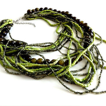Gaia - Green Multi Strand Necklace
