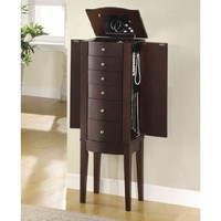 Contemporary Merlot Brown Jewelry Armoire
