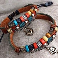 Handmade Couple Leather Bracelet- Key To My Heart