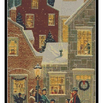 Christmas Village - folk art snow carolers large modern cross stitch  - pdf chart pattern -  -INSTANT DOWNLOAD