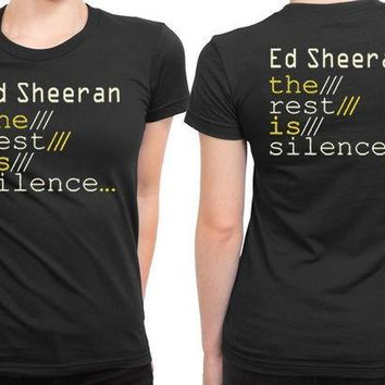 CREYP7V Ed Sheeran The Rest Is Silence 2 Sided Womens T Shirt