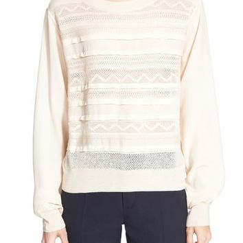Chloé Knit Lace Detail Wool & Silk Sweater | Nordstrom