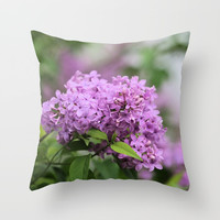Lilac Bouquets Throw Pillow by Theresa Campbell D'August Art
