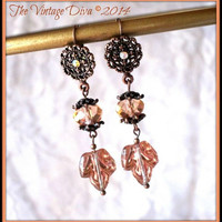Crystal Copper Czech Glass Oak Leaf Floral Filigree Copper Leverback Earrings