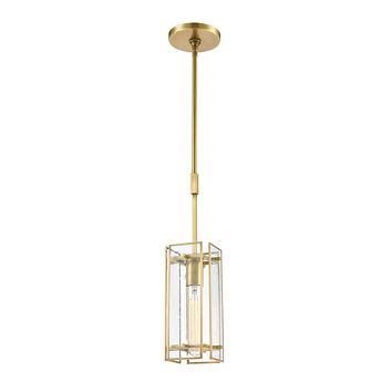 Hyde Park 1-Light Mini Pendant in Satin Brass with Seedy Glass
