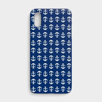 Anchor Toss Cell Phone Case iPhone X - White on Navy