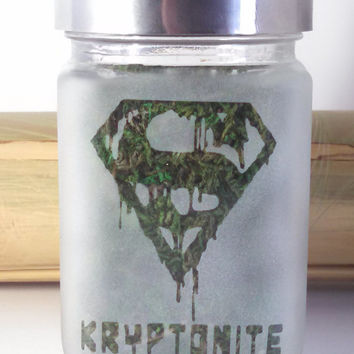 Super Man Inspired Kryptonite Etched Glass Stash Jar - Novelty Superman Collectible Gift