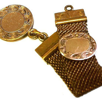 "Victorian Gold Watch Fob Pendant Gold Filled Mesh Chain 3 1/2"" Vintage"