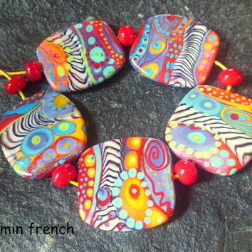 jasmin french ' zebras flying through the galaxy ' lampwork focal beads glass art