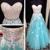 White and Blue Long Prom Dresses New Beading Sweetheart Sleeveless A Line Lace-up Floor Length Tulle Stock Dress Gown