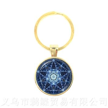 New Supernatural Pentagram Glass Keychains Gothic Pendant Satanism Evil Occult Pentacle Jewelry Pagan Charm Gift