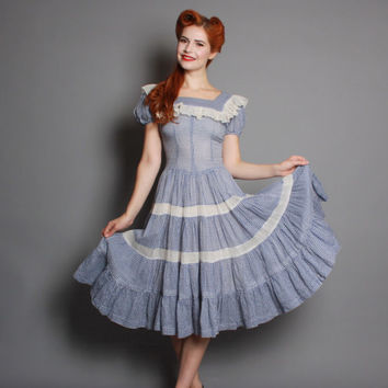 40s Blue GINGHAM Cotton PATIO DRESS / Full Circle Skirt & Tiered Ruffles, xs