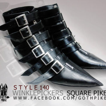 Pikes Winklepickers classic 6 buckle boots Goth Gothic Batcave WGT Siouxsie 80s UNISEX bats Leather, Vegan, Patent, Suede