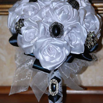 Bridal Bouquet - Brides Bouquet - Grooms Bout - White Handmade Roses, Crystal, Pearl and Gemstone black brooches & Embellishments