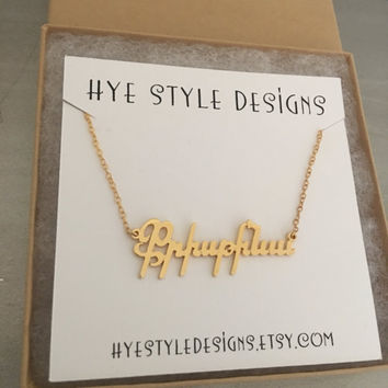 14K Gold, White Gold Armenian name tag unique necklace