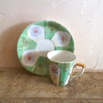 Ugacgo China Mint Green Floral Demitasse Tea Cup and Saucer Made in Occupied Japan