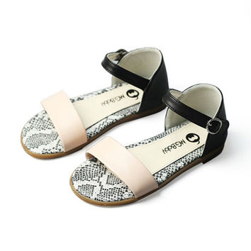 Girls Fish Mouth Summer Sandals Children Candy Color Open-toe Leather Flats Beach Shoes Kids Causal