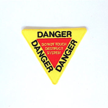Danger Applique Iron on Patch Size 8.7 x 7.3 cm