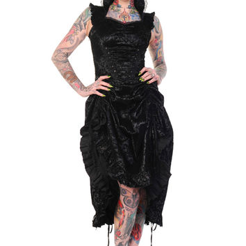 Victorian Gothic Wedding Skull Rose Tattoo Art Flocked Black Corseted Dress