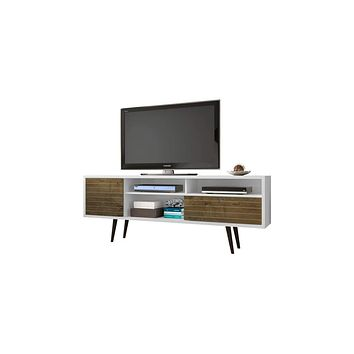 "70.86"" Mid Century - Modern TV Stand w/ 4 Shelving Spaces & 1 Drawer -White, Rustic Brown"