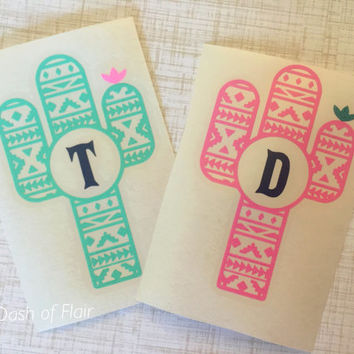 Cactus Decal - Yeti Monogram Decal - Car Decals - RTIC Cup Decal - Car Accessories - Glitter Monogram Decals - Binder Decals