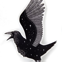 Space Crow Vinyl Sticker