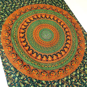 TWIN indian cotton elephant mandala tapestry wall hanging boho bohemia bedding throw bedspread cover ethnic mandala wall decorative art