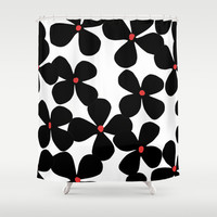 Black flowers Shower Curtain by Cecilia Andersson