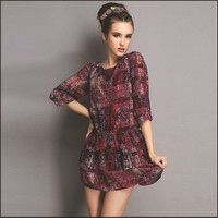 New arrivals 2015 women dresses plus size vestidos de festa curto print chiffon women dresses  XXL  3XL 4XL 5XL = 1958575172