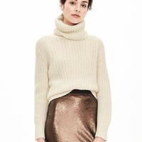 Banana Republic Womens Mixed Stitch Turtleneck Sweater Pullover