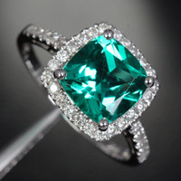 Cushion Emerald Engagement Ring Pave Diamond Wedding 14k White Gold 8mm