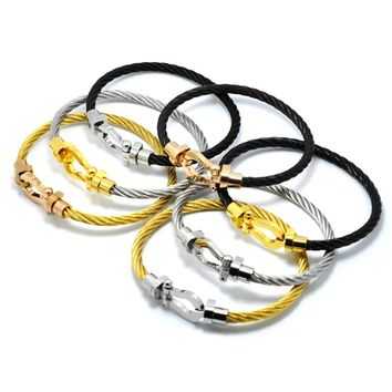 J.K stainless luxury brand Male Bracelets bangles Magnet Buckle Cable Wire Bracelet Men Women U Shaped Bracelet Fine Jewelry
