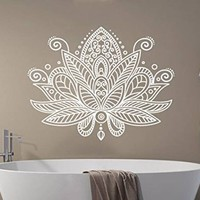 Lotus Flower Wall Decal Mandala Indian Ornament Namaste Vinyl Sticker Decals Mehndi Yoga Studio Bohemian Boho Bathroom Home Decor NV200 (18x23)