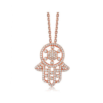 Beautiful Rose Gold Plated Cubic Zirconia Diamond Chain Hamsa Pendant Necklace