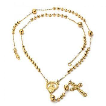 Gold Layered 5.211.001 Large Rosary, Jesus and Crucifix Design, Golden Tone