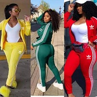 Adidas Women Long Sleeve Shirt Sweater Pants Sweatpants Set Two-Piece Multi-color selection