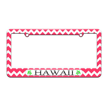 Hawaii Love - Turtle - Hibiscus - License Plate Tag Frame - Pink Chevrons Design