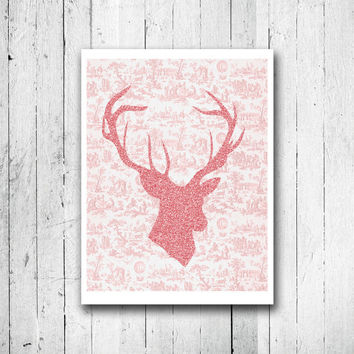 Girl hunter Deer Head Silhouette Pink glitter Deer poster Stag Print Tomboy Gift Toile print Home wall decor Wildlife art Giclee art print
