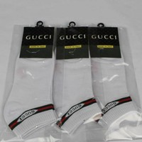 GUCCI Woman Men Fashion Casual Cotton Socks Stockings White G