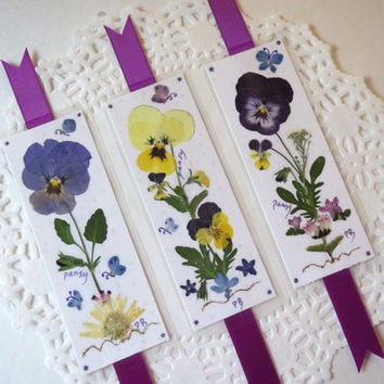 Pressed Flower Bookmarks book accessories laminated pansy bookmarks little pieces of art for gardener lovers, bible study clubs, favor gifts