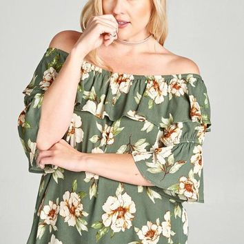 Olive Flutter Floral Top | Plus