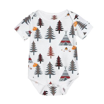 Cute Baby One-piece Rompers Kids Toddlers Tree Pattern Printed Short Sleeve Jumpsuit Romper Soft Summer Clothing
