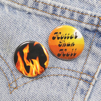Flaming Pin 1.25 Inch Pin Back Button Badge