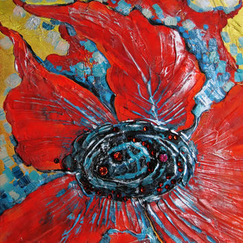 Modern Art Abstract Painting Original Painting Floral Painting Palette Knife RED Poppy Flower Canvas Art Office Decor