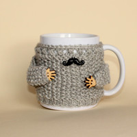 Coffe mug and mug cozy set. Handknitted mug sweater with arms. 11 Oz porcelain mug Black mustache charm Mother's day gift. Father's day gift