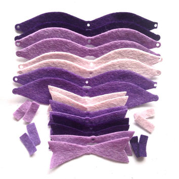 8 Pre Cut Felt Bows - Purple - DIY Die Cut Felt Bow Making Kit - Gift Tag, Applique, Card Toppers, Scrapbooking, Christmas Bows Craft, UK